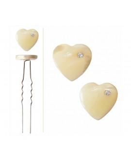 Lot de 2 épingles à cheveux coeur de nacre ivoire et cristal blanc coiffure de mariage